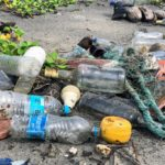浜辺に流れ着いたゴミ